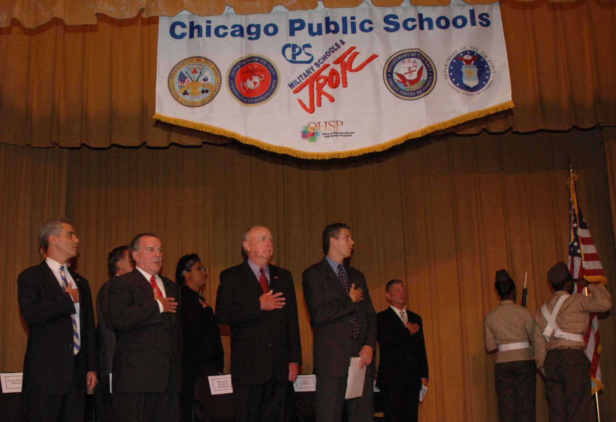 Chicago Mayor Richard M. Daley, (then) Congressman Rahm Emmanuel, and Chicago  Public Schools Chief Executive Officer Arne Duncan salted the flag during  ...