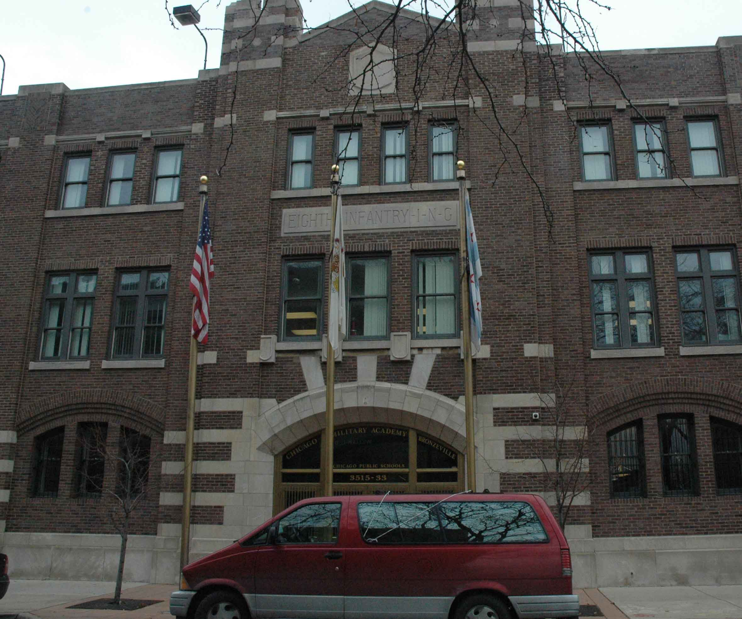 """Above: The former National Guard armory at 3515 S. Rhodes houses the  """"Bronzeville Military Academy"""", which was the first military high school  created in ..."""