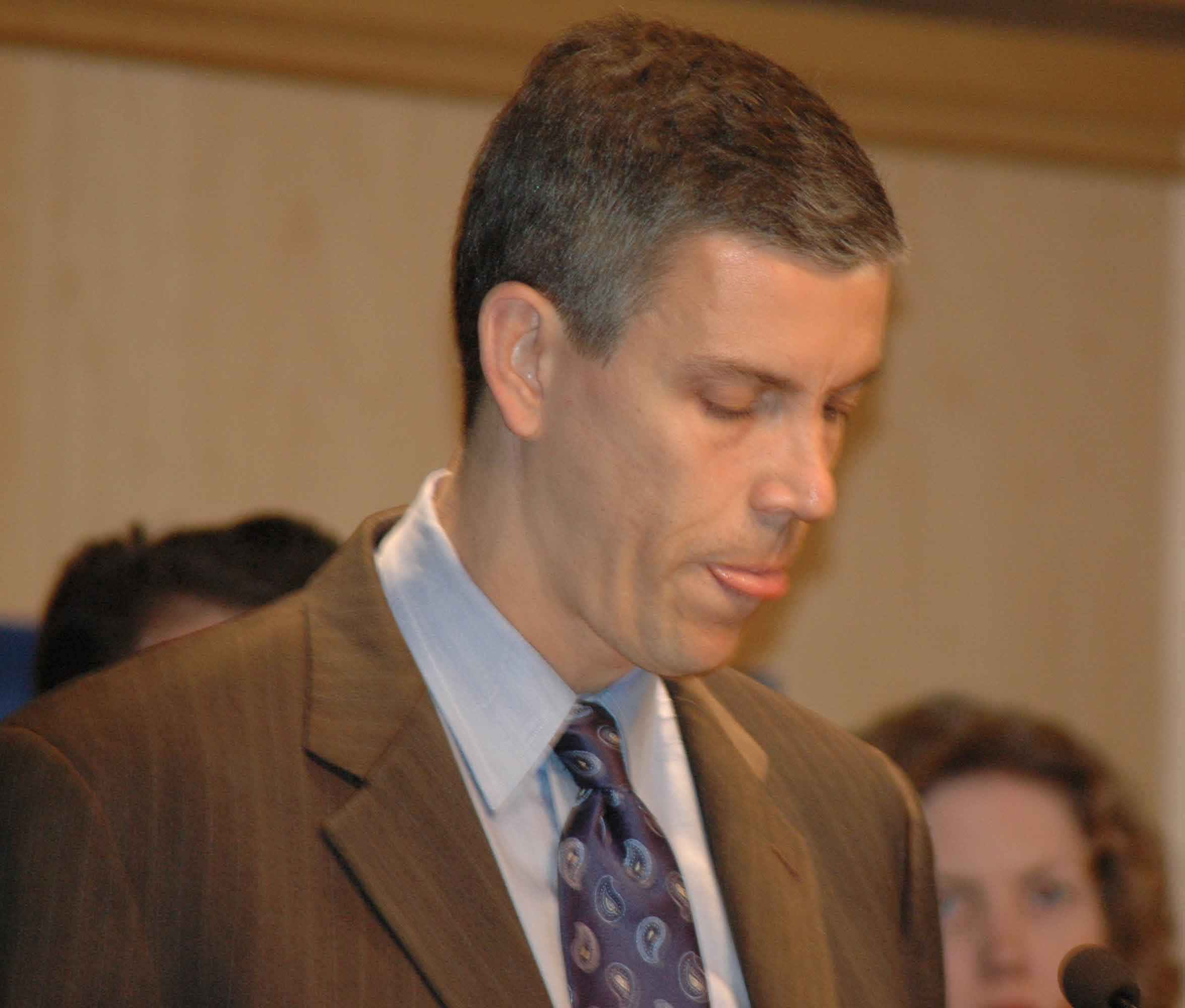 "On February 14, 2008, CEO Arne Duncan held a press conference (above) to tell the press that, once again, he was going to be cutting ""administration"" because the Board of Education was facing a ""deficit"". Because CPS did not have any reasonable budget figures to provide to the press at the time, most of the story was deferred until June 2008, when the administration is legally required to present a proposed budget to the public for public hearings. Again this year, instead of providing a proposed budget to the public, in June 2008 Duncan arranged to delay the budget presentation and hosted another media event. On May 28, the day the Board of Education was supposed to meet, Duncan left town for Springfield, and the ""May"" meeting was rescheduled for June. Substance photo by George Schmidt."