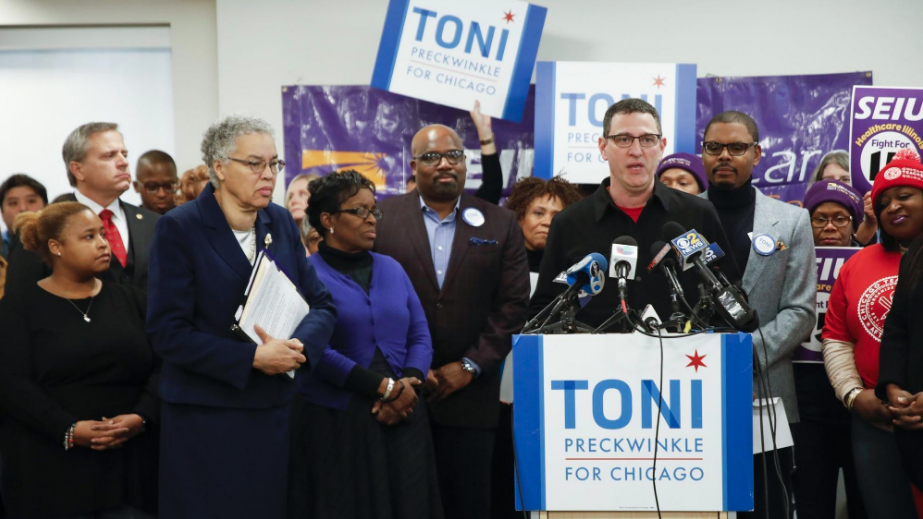 CTU President Jesse Sharkey endorses Toni Preckwinkle for mayor at a press conference in December 2018.