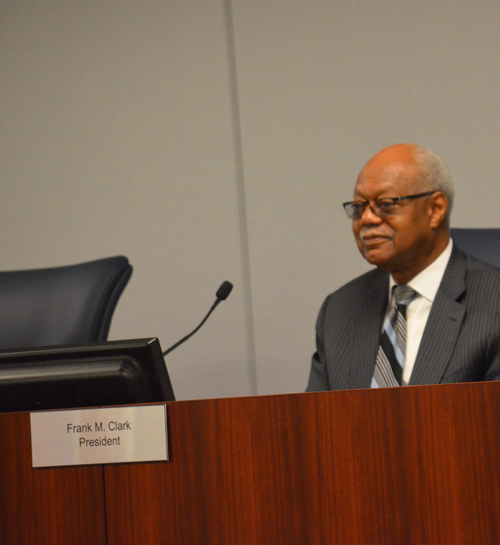 Retired Commonwealth Edison CEO Frank Clark presided over the August 2016 meeting of the Chicago Board of Education. Clark is now in his 15th month as a member of the seven-member Chicago Board of Education, all of whose members are appointed by Mayor Rahm Emanuel. Only Chicago in Illinois has a school board appointed by the mayor. Substance photo by George N. Schmidt.