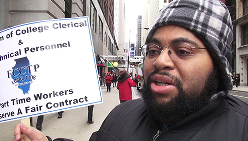 Jeremy Harrison picketing Chicago City Colleges headquarters on February 21, 2013. Photo by Labor Beat.