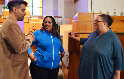 Seattle high school teacher Jesse Hagopian (left) spoke with Chicago Teachers Union President Karen Lewis (above right) before both spoke at a community forum on testing and a report on the Garfield High School teachers' boycott. Substance photo by Sharon Schmidt.