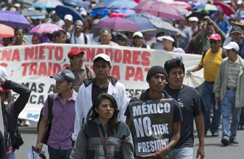 Mexico teachers striking in September 2013.