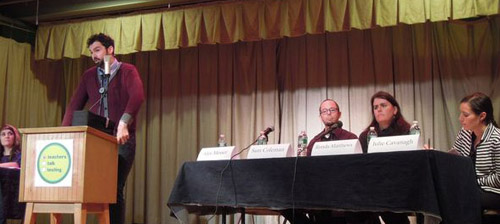 Brooklyn teacher Alex Messer describes the destruction of learning in New York's public schools caused by high-stakte testing at the December 3 forum.