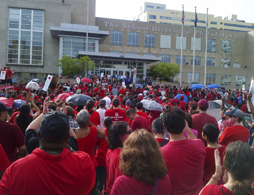 Philadelphia protest against the latest outrages from the School Reform Commission.
