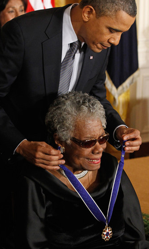 Maya Angelou defended President Barack Obama against the racism of many of his fiercest critics, but he didn't even respond to her criticism of the federal government's Race To The Top test-based corporate school