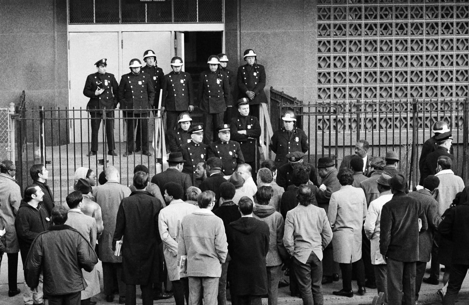 Police in Ocean Hill Brownsville during the 1968 dispute.