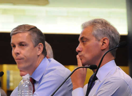 Two of the biggest scab herders in the USA in the 21st Century are U.S. Secretary of Education Arne Duncan (left) and Chicago Mayor Rahm Emanuel (right), seen above during a media event at Chicago's Schurz High School on September 9, 2011. Duncan was supposedly promoting public education under the slogan