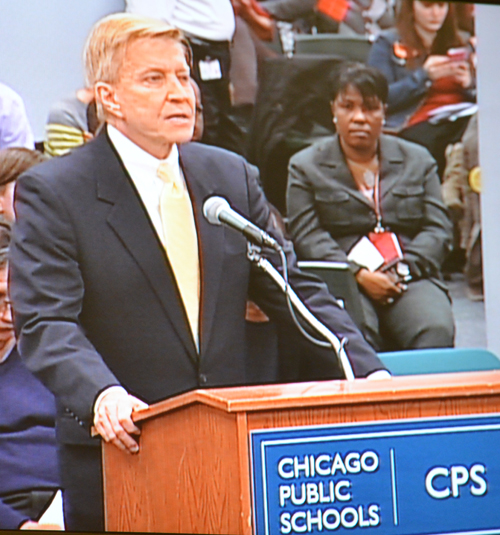 Alderman Bob Fioretti of the Second Ward has been one of the most outspoken critics of the mayor's agenda since Rahm Emanuel took office in May 2011. Above, Fioretti spoke against charter expansion at the January 2014 meeting of the Chicago Board of Education. The complete text of Fioretti's speech can be found at: http://www.substancenews.net/articles.php?page=4760