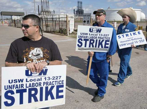 United Steelworkers picket line as the strike begins.