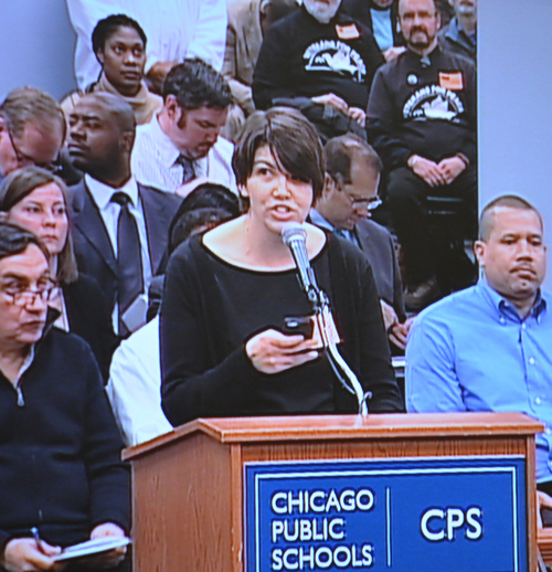 Cassie Creswell of More than a Score presenting to the February 24, 2014 meeting of the Chicago Board of Education. Substance photo by George N. Schmidt.