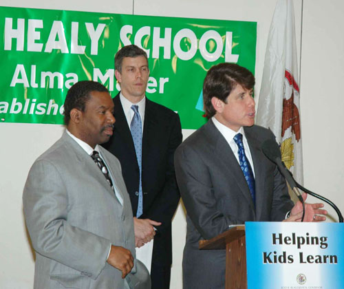 Back when Rod Blagojevich was still out of prison and governor of Illinois, the governor joined Arne Duncan (center above) and James Meeks (left) to promote one of the many schemes to use privatization as a short term gimmick to fund Illinois and Chicago schools. Substance photo by George N. Schmidt.