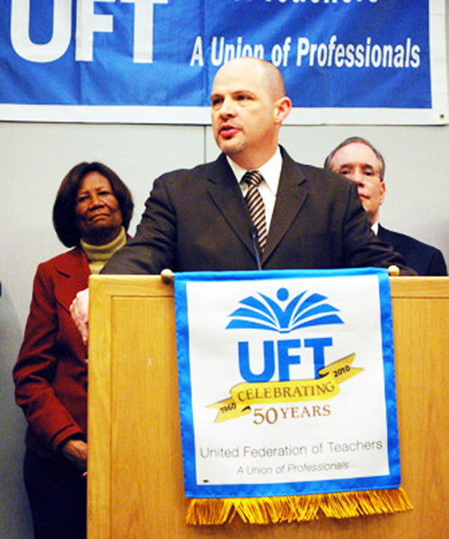 UFT President Michael Mulgrew was re-elected in the New York City union's general election in April 2013.