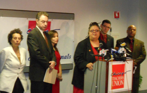 Chicago Teachers Union President Karen Lewis reported the decision of the  IELRB to the press at a press conference at the union's offices on October  14, ...