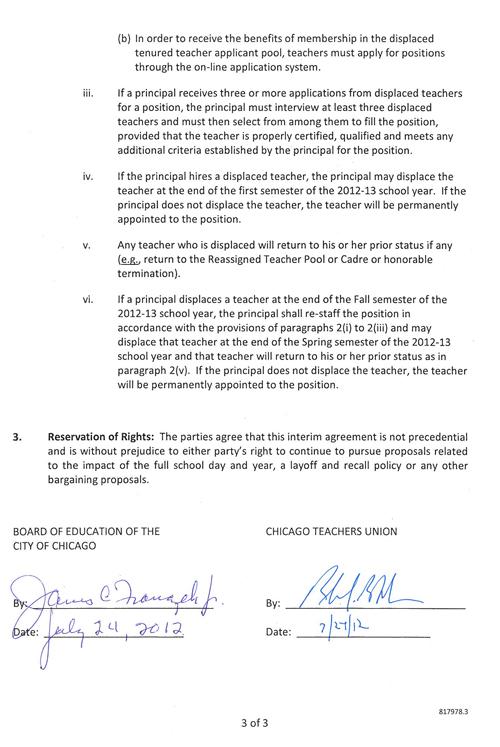 CTU/CPS interim agreement decreases previously announced teacher