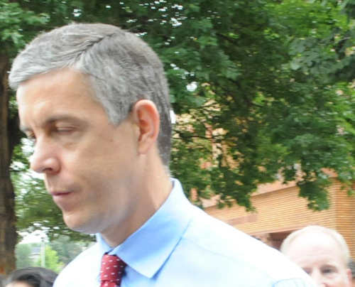 Arne Duncan arriving at Chicago's Carl Schurz High School on September 9, 2011. Substance photo by George N. Schmidt.