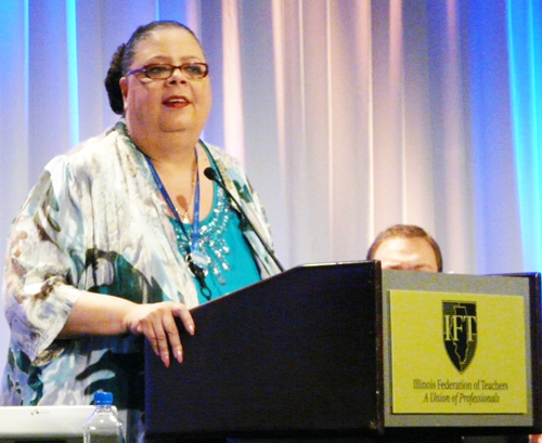 Chicago Teachers Union President Karen Lewis is also Executive Vice President of the Illinois Federation of Teachers. Substance photo by Kati Gilson.