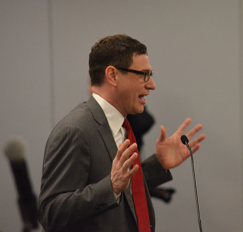In his presentation to the March 25, 2015 meeting of the Chicago Board of Education, Chicago Teachers Union vice president Jesse Sharkey told the Board the union would be willing to cooperate on financial issues if the Board seriously developed a plan to increase revenues by fair tax policies. Substance photo by George N. Schmidt.