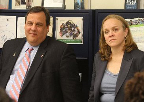 "New Jersey Governor Chris Christie (left) and Newark school chief Cami Anderson (right) teamed up, along with former mayor (now Senator) Corey Booker to implement corporate ""school reform"" and the charter school attack on public education in the state's largest city."