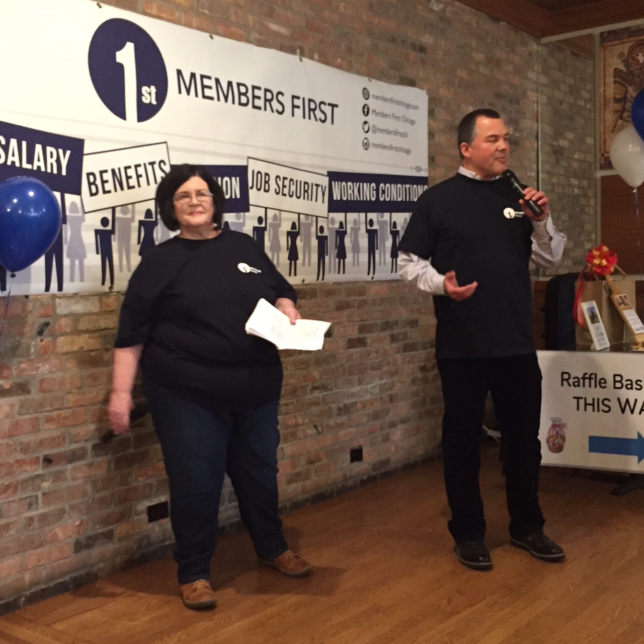 Therese Boyle and Victor Ochoa spoke to the crowd of more than 250 at the Members First event on Friday, April 13, 2018. Substance photo by Susan Hickey.