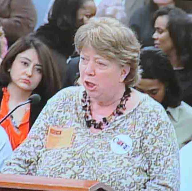 Liz Brown (above, speaking at the February 24, 2010 Board of Education meeting) will be serving as chief of