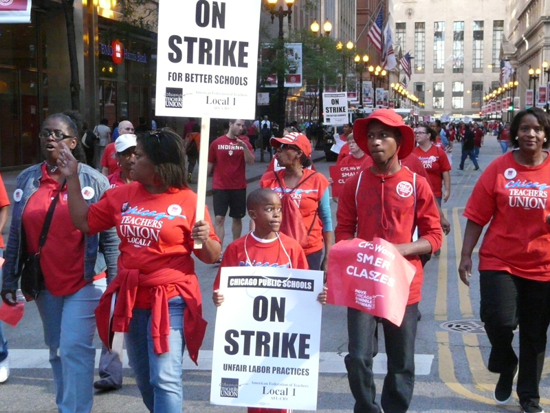 Thousands of strikers march in Chicago's Loop on Sept. 10, 2012, the first day of the 7-day Chicago Teachers Union strike.