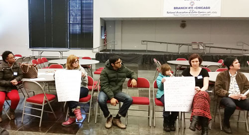 Above, six of the nine panelists who spoke about their organizing of the 2015 PARCC Opt Out during the March 23, 2015 meeting of CORE. Left to right, Monique Redeaux, Alison Eichhorn, Akash Pandey, Sophie Carlson, Anne Carlson, and Xian Barrett. The two posters (see below) provided the more than 60 people attending the presentatioin with specific details of the Opt Out organizing at Lindblom High School (poster with Alison, left) and Drummond Montessori Elementary (Carlson, right). Substance photo by Tammie Vinson.