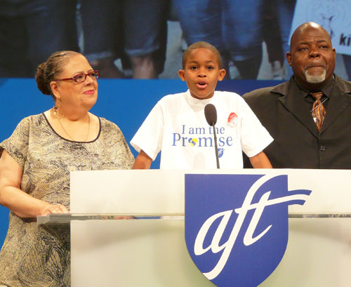 Among the thousands of events by Karen Lewis was the July 12, 2014 appearance a the national convention of the American Federation of Teachers (AFT) with Chicago public schools student Asean Johnson (at podium) and community leader Jitu Brown (right). Substance photo by Sharon Schmidt.