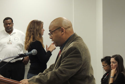 "Michael Brunson addresses the Chicago Board of Education at its September 25th monthly meeting to request a ""truce of peace"" - Photo courtesy of SubstanceNews.net"