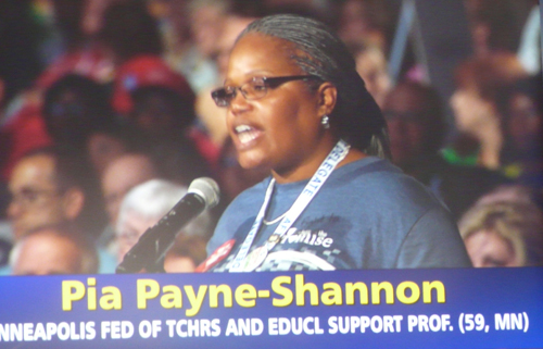 All of those who spoke against Common Core at the AFT convention were classroom teachers, like Pia Payne-Shannon from Minneapolis (above speaking during the debate). Most of those who spoke from the floor in support of the