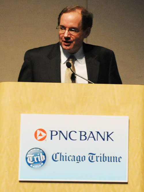 Chicago Tribune Editorial Board member Bruce Dold (above) introduced the discussion between CPS CEO Jean-Claude Brizard and CTU President Karen Lewis one year before the famous Chicago Teachers Strike of 2012. Substance photo by George N. Schmidt.