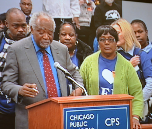For thousands, the most shocking moment during the December 18, 2013 meeting of the Chicago Board of Education came when Congressman Danny Davis took the podium to betray decades of friendships and political allies by announcing that he was supporting the production of another union-busting charters school on Chicago's West Side. In a rambling five-minute orgation, Davis told the Board that he had always supported the public schools and that he loved the Chicago Teachers Union and that he had been a union member -- but instead of fixing the real public schools of the Aistin community he would prefer that a local community center be rewarded with a charter school charter and millions of dollars in public money for additional privatization. Before the meeting was over, many of Davis's former allies were branding him a traitor and preparing for the future. Substance photo by George N. Schmidt.