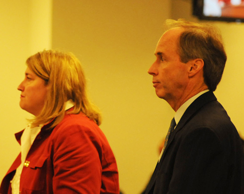 Tim Cawley (right) at a meeting of the Chicago Board of Education. Substance photo by George N. Schmidt.