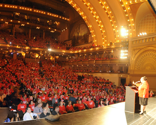 Chicago Teachers Union President Karen Lewis speaking to the crowd of more than 3,000 at Chicago's Auditorium Theatre on May 23, 2012. Substance photo by Graham Hill.