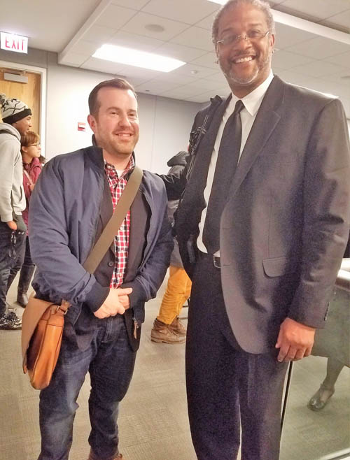 Chicago Teachers Union organizer Marty Ritter (left) stood with Leonard Kenebrew during the November 21, 2016 hearing on the proposed