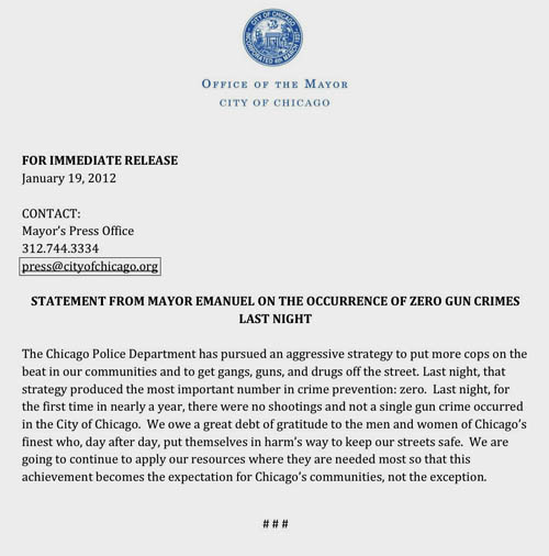 Rahm touts crime drop - Substance News