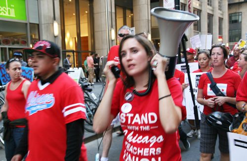 Some of the striking teachers marching down LaSalle Street on September 12, 2012. Substance photo by David Vance.