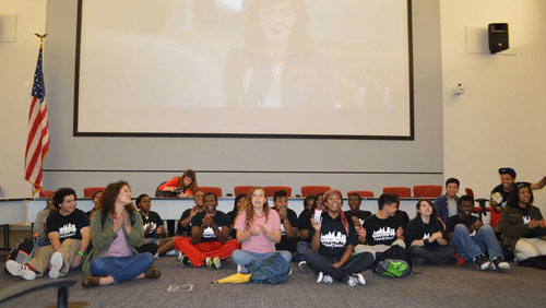 Members of the Philadelphia Student Union moved from their seats during a meeting of the so-called