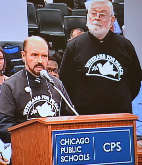 Arny Stieber of Veterans for Peace asked the Chicago Board of Education to