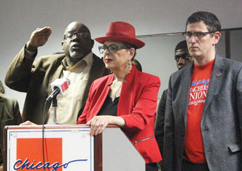 One of the plaintiffs in the federal and state lawsuits to gain an elected school board for Chicago is Jitu Brown (above left), a longtime community activist and leader in Chicago. Despite Brown's years of alliance with the current Chicago Teachers Union leadership, the union failed to give public notice about the lawsuits for the elected school board during the first days of December 2016. This has led to speculation that the union's leaders have cut some kind of deal with Chicago's ruling class and failed to lobby strongly in Springfield for the bill that would have given Chicago the elected school board. DNA Info photo.
