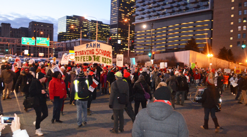 As hundreds of marchers blocked Chicago's Congress Expressway at Wells St. on February 4, 2016, one of the many banners proclaimed