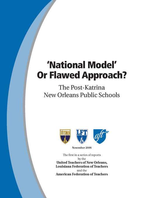 Much of the research since the 2006 publication of the AFT-UTNO report has proved that the racist destruction of democracy and public schools in New Orleans following Hurricane Katrina (August 2005) has elaborated on what the AFT found two years after Katrina. One facet of the history is that CORE studied the racism of Arne Duncan and others as part of its early organizing. Studying Naomi Klein's