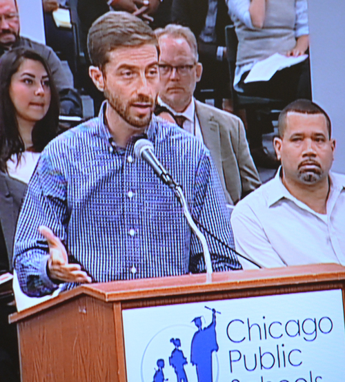 Chicago Teachers Union Staff Coordinator Jackson Potter tried to get the Board to agree to go to arbitration over the so-called
