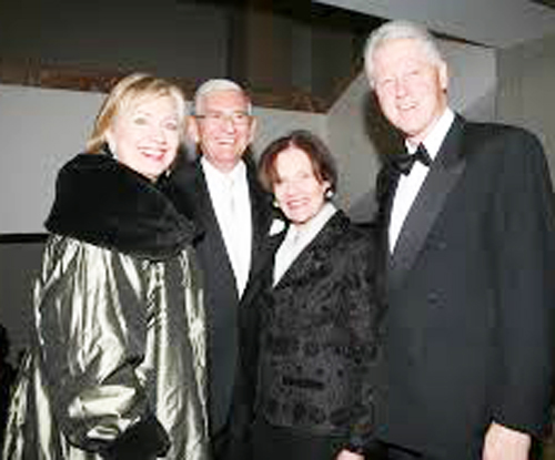 Long time allies. Left to right: Hillary Clinton, Eli Broad, Edythe Broad, Bill Clinton.