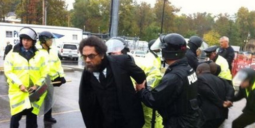 Cornel West was among those arrested during civil disobedience as part of the demonstrations in Ferguson over the weekend of October 10 - 13, 2014.