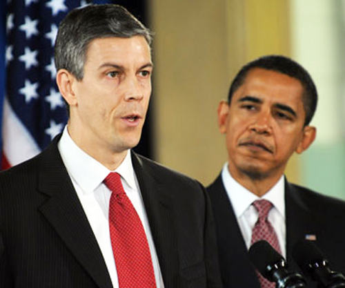 Chicagoans Arne Duncan (above left) has now become the longest serving U.S. Secretary of Education in history, having begun his term in January 2009 at the time his former Chicago neighbor, Barack Obeama, was sworn in as President of the United States. Duncan and Obama are both