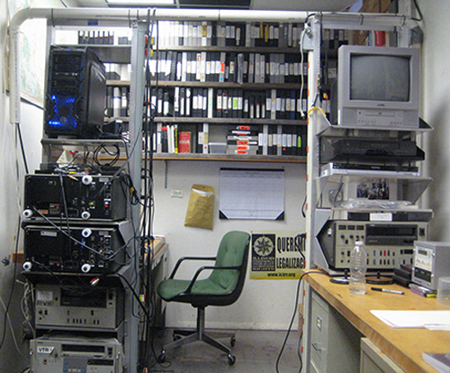 Labor Beat's editing station and some of the shelves of archived labor history footage going back to the 80s. Photo: Labor Beat