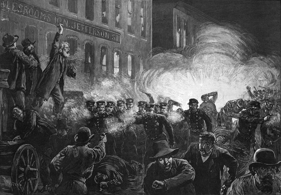 1886 engraving was the most widely reproduced image of the Haymarket massacre. It shows Methodist pastor Samuel Fielden speaking, the bomb exploding, and the riot beginning simultaneously; in reality, Fielden had finished speaking before the explosion.