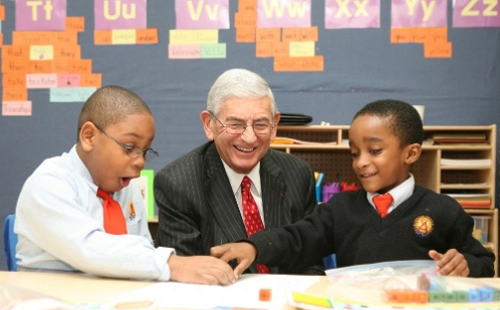 Eli Broad, the billionaire who funds many of the attacks on the nation's public schools, has visited Harlem Success Academy (above) to push its version of